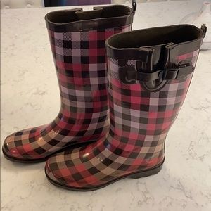 Capelli of New York Pink andBrown Plaid Rain Boots